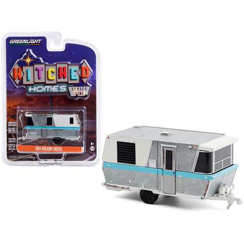 """1961 Holiday House Travel Trailer Silver and White with Blue Stripe (Weathered) """"Hitched Homes"""" Series 9 1/64 Diecast Model by Greenlight"""
