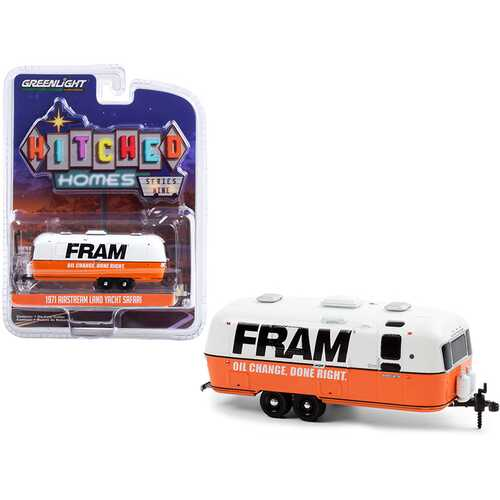 """1971 Airstream Land Yacht Safari Travel Trailer White and Orange """"FRAM Oil Filters"""" """"Hitched Homes"""" Series 9 1/64 Diecast Model by Greenlight"""