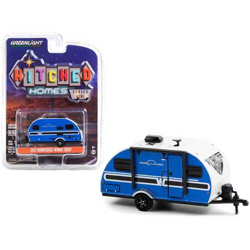 """2017 Winnebago Winnie Drop Travel Trailer Blue and White """"Hitched Homes"""" Series 9 1/64 Diecast Model by Greenlight"""