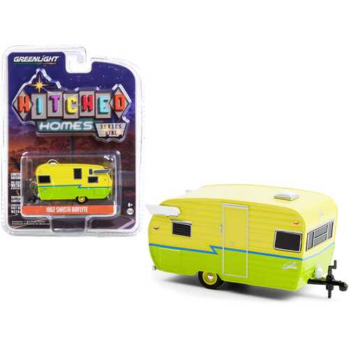"""1962 Shasta Airflyte Travel Trailer Yellow and Green with Blue Stripe """"Hitched Homes"""" Series 9 1/64 Diecast Model by Greenlight"""