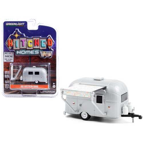 """1961 Airstream Bambi Travel Trailer Silver with """"Peace and Love"""" Awning """"Hitched Homes"""" Series 9 1/64 Diecast Model by Greenlight"""