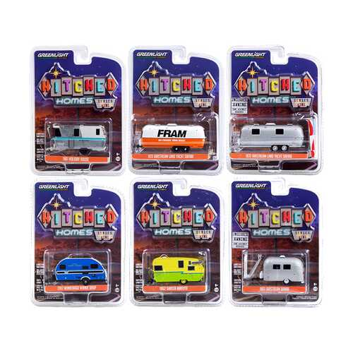 """""""Hitched Homes"""" 6 piece Travel Trailers Set Series 9 1/64 Diecast Models by Greenlight"""