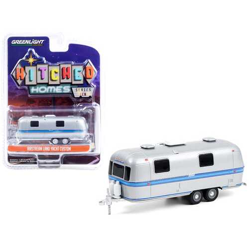 """Airstream Land Yacht Custom Travel Trailer Silver with Blue Stripes """"Hitched Homes"""" Series 10 1/64 Diecast Model by Greenlight"""