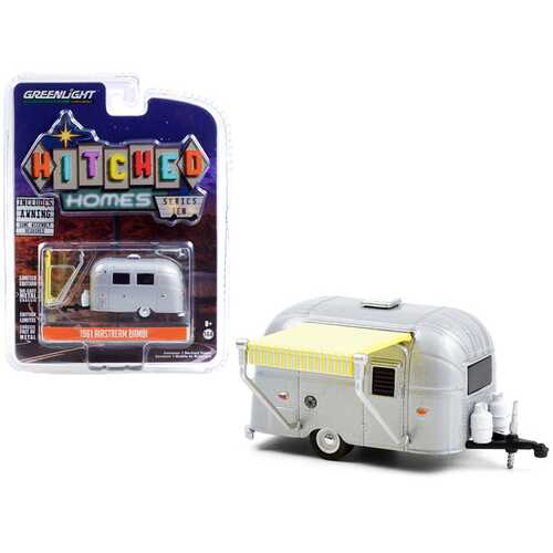 """1961 Airstream Bambi Silver with Yellow and White Awning """"Hitched Homes"""" Series 10 1/64 Diecast Model Car by Greenlight"""
