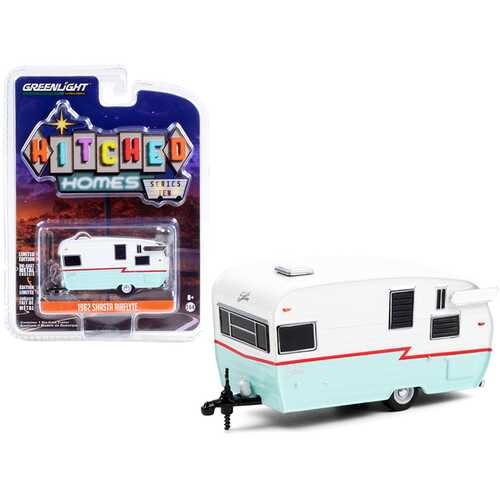 """1962 Shasta Airflyte Travel Trailer White and Teal with Red Stripe """"Hitched Homes"""" Series 10 1/64 Diecast Model by Greenlight"""