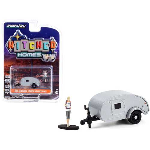 """1956 Teardrop Travel Trailer Silver with Backpacker Figurine """"Hitched Homes"""" Series 10 1/64 Diecast Model by Greenlight"""