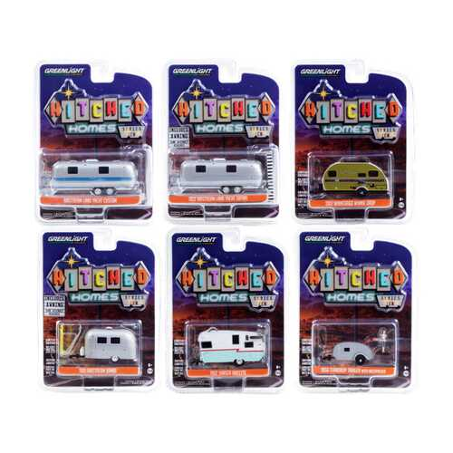 """""""Hitched Homes"""" 6 piece Travel Trailers Set Series 10 1/64 Diecast Models by Greenlight"""