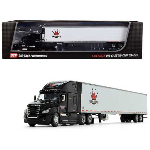 "Freightliner Cascadia High Roof Sleeper Cab with 53' Utility (Reefer) Refrigerated Ribbed Sided Trailer ""Englander"" Black and White 1/64 Diecast Model by DCP"