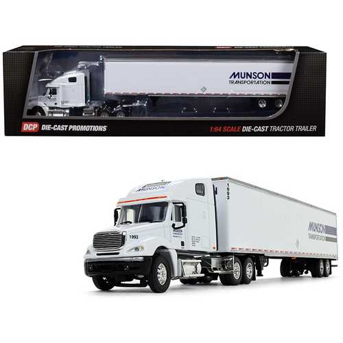"Freightliner Columbia High Roof Sleeper Cab with 53' Utility Dry Goods Trailer ""Munson Transportation"" White 1/64 Diecast Model by DCP"