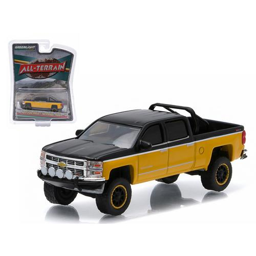 "2015 Chevrolet Silverado 1500 Black and Yellow Pickup Truck ""All Terrain"" Series 2 1/64 Diecast Model by Greenlight"