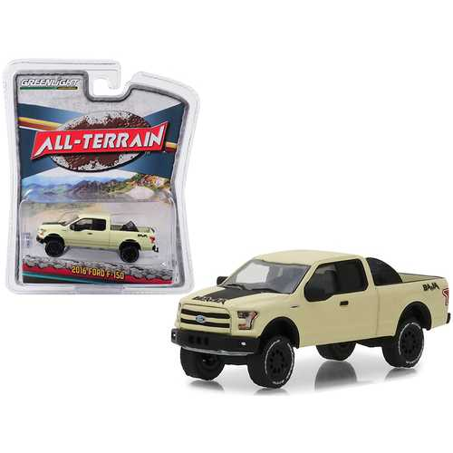"2016 Ford F-150 Baja Pickup Truck with Tire Carrier Matt Yellow ""All Terrain"" Series 7 1/64 Diecast Model Car by Greenlight"