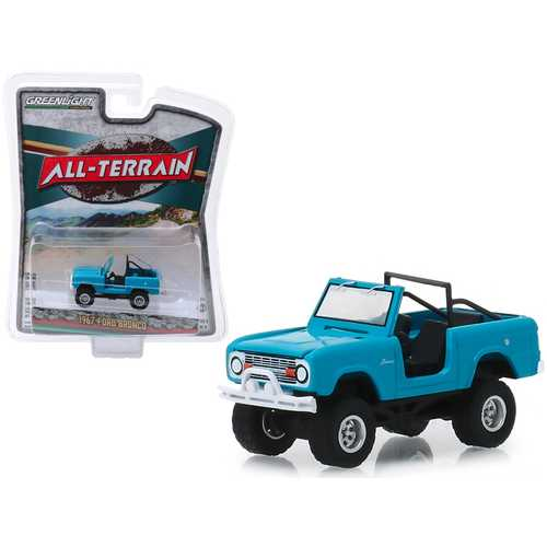"1967 Ford Bronco (Doors Removed) Teal / Medium Blue-Green ""All Terrain"" Series 8 1/64 Diecast Model Car by Greenlight"