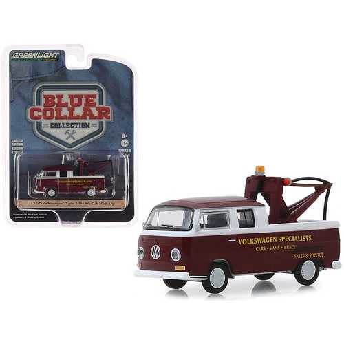 "1968 Volkswagen Type 2 Double Cab Tow Truck Doka with Drop in Tow Hook Metallic Burgundy ""Volkswagen Specialists"" ""Blue Collar Collection"" Series 6 1/64 Diecast Model Car by Greenlight"