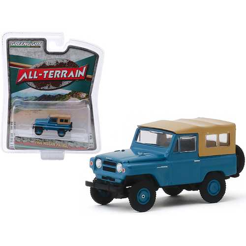 "1968 Nissan Patrol Mt. Fuji Blue with Brown Top ""All Terrain"" Series 9 1/64 Diecast Model Car by Greenlight"