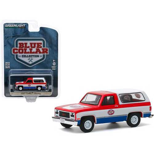 "1990 GMC Jimmy ""STP"" Red and White with Blue Bottom ""Blue Collar Collection"" Series 7 1/64 Diecast Model Car by Greenlight"