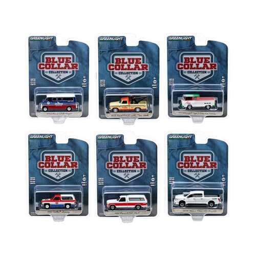 """""""Blue Collar Collection"""" Set of 6 pieces Series 7 1/64 Diecast Model Cars by Greenlight"""