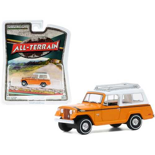 """1971 Jeep Jeepster Commando with Roof Rack Orange with White Top """"All Terrain"""" Series 10 1/64 Diecast Model Car by Greenlight"""