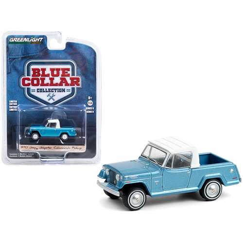 """1970 Jeep Jeepster Commando Pickup Truck Light Blue Metallic with White Top """"Blue Collar Collection"""" Series 8 1/64 Diecast Model Car by Greenlight"""