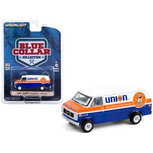 "1987 GMC Vandura 2500 Van ""Union 76 Minute Man Service"" Blue and White with Orange Stripe ""Blue Collar Collection"" Series 8 1/64 Diecast Model Car by Greenlight"