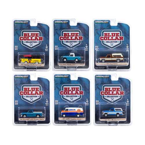 """""""Blue Collar Collection"""" Set of 6 pieces Series 8 1/64 Diecast Model Cars by Greenlight"""