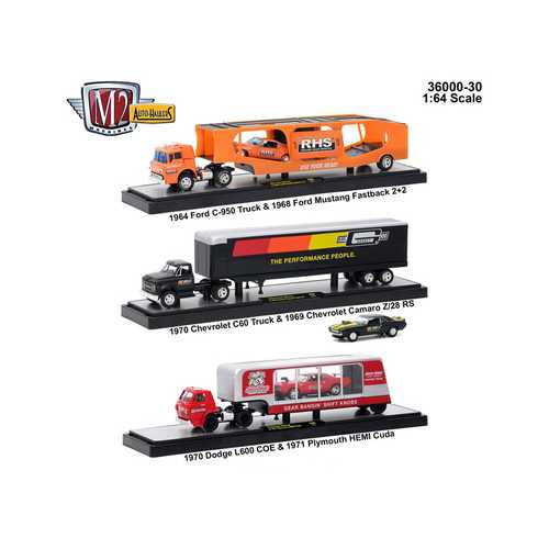 Auto Haulers Release 30, 3 Trucks Set 1/64 Diecast Models by M2 Machines