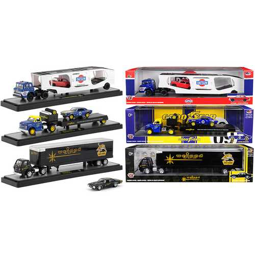 Auto Haulers Release 34, 3 Trucks Set 1/64 Diecast Models by M2 Machines