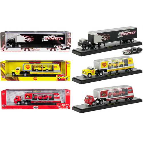Auto Haulers Release 35, Set of 3 Trucks 1/64 Diecast Models by M2 Machines
