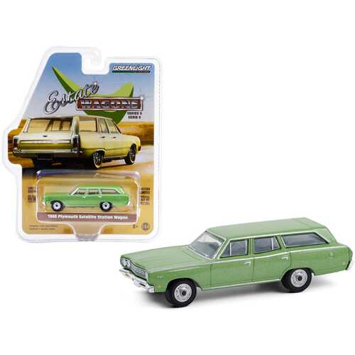 "1968 Plymouth Satellite Station Wagon Sea Mist Green Metallic ""Estate Wagons"" Series 6 1/64 Diecast Model Car by Greenlight"
