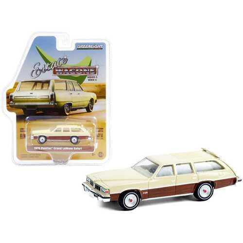 "1976 Pontiac Grand LeMans Safari Bavarian Cream with Woodgrain Sides ""Estate Wagons"" Series 6 1/64 Diecast Model Car by Greenlight"