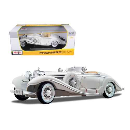 1936 Mercedes Benz 500 K Special Roadster White 1/18 Diecast Model Car by Maisto
