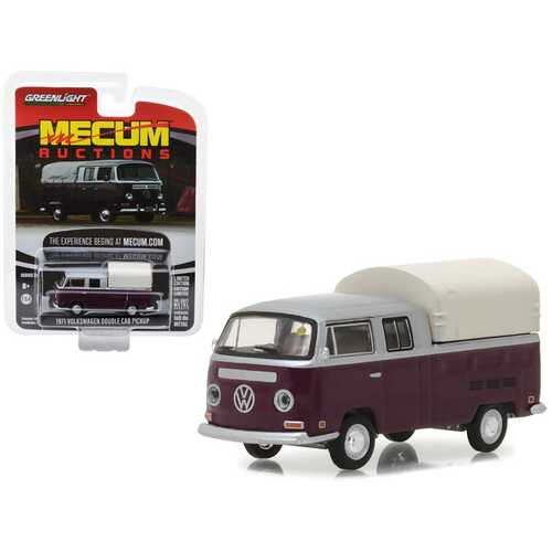 1971 Volkswagen Double Cab Pickup Burgundy and Silver (Houston 2015) Mecum Auctions Collector Series 2 1/64 Diecast Model Car by Greenlight