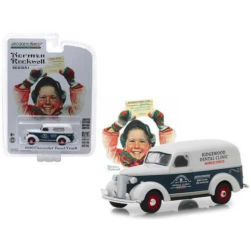 "1939 Chevrolet Panel Truck Blue and White ""Ridgewood Dental Clinic"" Mobile Office ""Norman Rockwell Delivery Vehicles"" Series 1 1/64 Diecast Model Car by Greenlight"