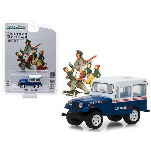 """1971 Jeep DJ-5 Blue with White Top U.S. Mail """"Norman Rockwell Delivery Vehicles"""" Series 1 1/64 Diecast Model Car by Greenlight"""