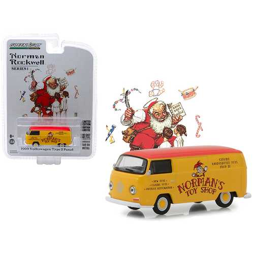 """1969 Volkswagen Type 2 Panel Van Yellow with Red Top """"Norman's Toy Shop"""" """"Norman Rockwell Delivery Vehicles"""" Series 1 1/64 Diecast Model by Greenlight"""