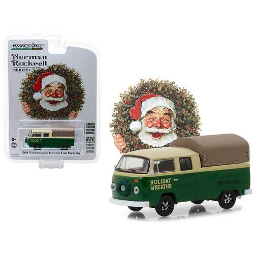 "1978 Volkswagen Double Cab Pickup with Canopy ""Holiday Wreaths"" Green and Yellow ""Norman Rockwell Delivery Vehicles"" Series 1 1/64 Diecast Model by Greenlight"