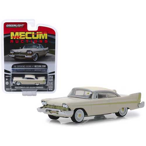 "1958 Plymouth Fury Golden Commando Beige (Kissimmee 2012) ""Mecum Auctions Collector Cars"" Series 3 1/64 Diecast Model Car by Greenlight"
