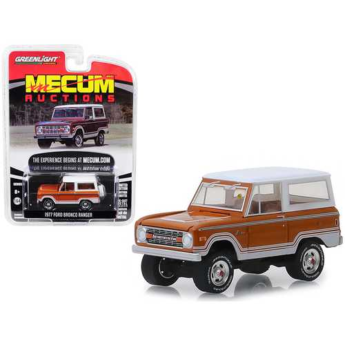 "1977 Ford Bronco Ranger Cinnamon Brown and White (Indianapolis 2018) ""Mecum Auctions Collector Cars"" Series 3 1/64 Diecast Model Car by Greenlight"