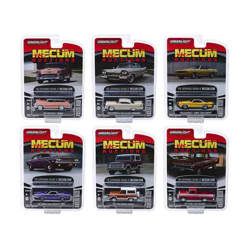 """Mecum Auctions Collector Cars"" Series 3, Set of 6 pieces 1/64 Diecast Model Cars by Greenlight"