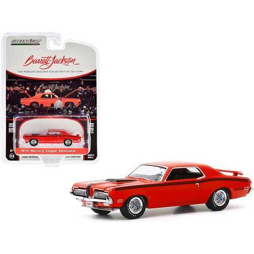 "1970 Mercury Cougar Eliminator Orange with Black Stripes (Lot #1082) Barrett Jackson ""Scottsdale Edition"" Series 5 1/64 Diecast Model Car by Greenlight"