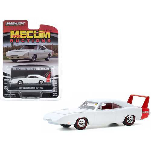 """1969 Dodge Charger Daytona White (Kissimmee 2020) """"Mecum Auctions Collector Cars"""" Series 5 1/64 Diecast Model Car by Greenlight"""