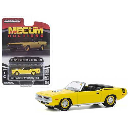 """1970 Plymouth HEMI Barracuda Convertible Yellow with Black Stripes (Kissimmee 2016) """"Mecum Auctions Collector Cars"""" Series 5 1/64 Diecast Model Car by Greenlight"""