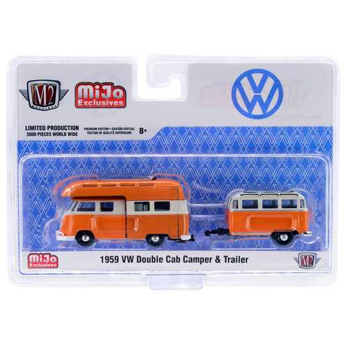 1959 Volkswagen Double Cab Camper with Travel Trailer Orange and Cream Limited Edition to 3,000 pieces Worldwide 1/64 Diecast Model Car by M2 Machines