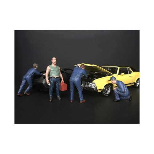 """Mechanic Classic"" 4 Piece Figurine Set for 1/18 Scale Models by American Diorama"