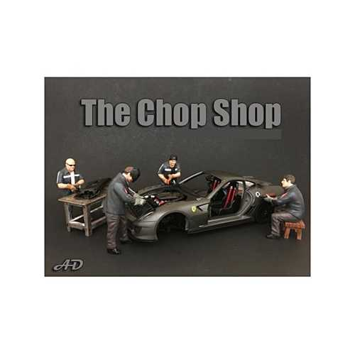 """Chop Shop"" 4 piece Figurine Set for 1/24 Scale Models by American Diorama"
