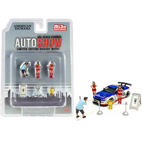 """Auto Show"" Diecast Set of 6 pieces (3 Figurines and 3 Accessories) for 1/64 Scale Models by American Diorama"