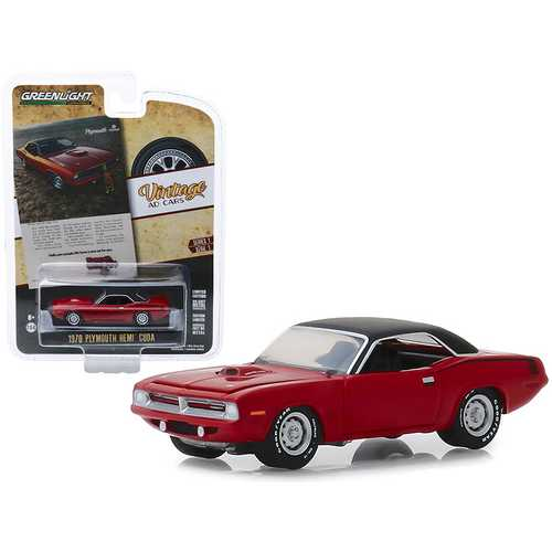 """1970 Plymouth HEMI Barracuda Red with Black Top """"Hello New People. We Have A New Car For You"""" """"Vintage Ad Cars"""" Series 1 1/64 Diecast Model Car by Greenlight"""