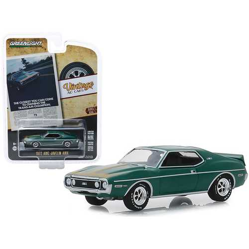 "1972 AMC Javelin AMX Green with Gold Stripes ""The Closest You Can Come To Owning The Trans-Am Champion"" ""Vintage Ad Cars"" Series 1 1/64 Diecast Model Car by Greenlight"