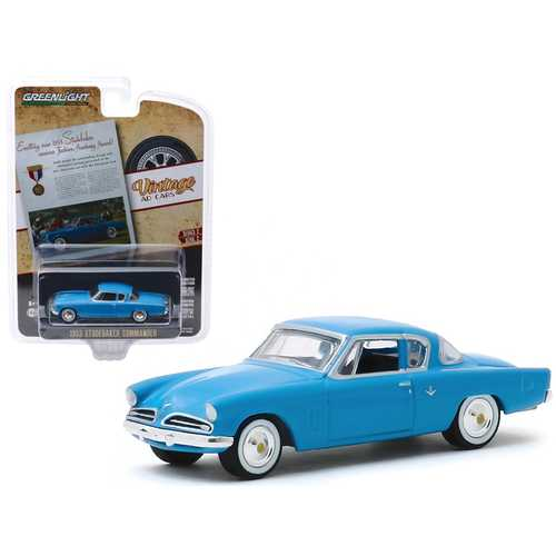 """1953 Studebaker Commander Blue """"Exciting New 1953 Studebaker Receives Fashion Academy Award!"""" """"Vintage Ad Cars"""" Series 2 1/64 Diecast Model Car by Greenlight"""
