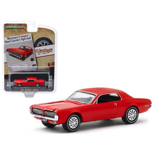"1967 Mercury Cougar Red ""Mercury Cougar Dan Gurney Special"" ""Vintage Ad Cars"" Series 2 1/64 Diecast Model Car by Greenlight"