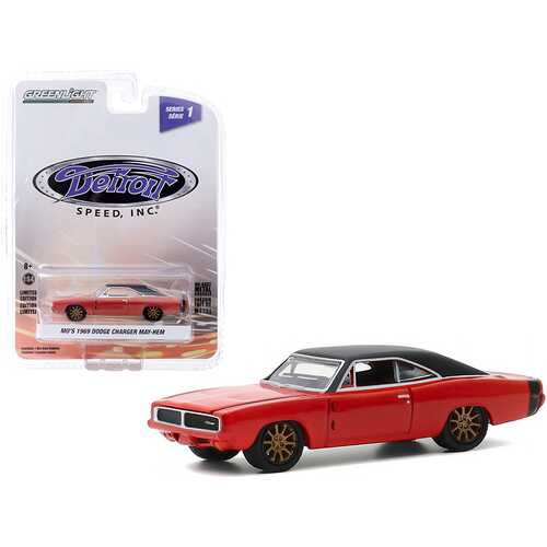 """1969 Dodge Charger May/Hem (Mo's) Red with Black Top and Copper Wheels """"Detroit Speed Inc."""" Series 1 1/64 Diecast Model Car by Greenlight"""